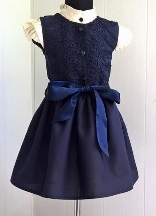 Тёмно-синий школьный сарафан с кружевом. школьная форма рр 122-140