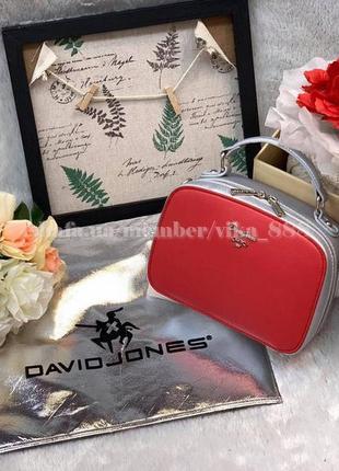 Сумка через плечо кросс-боди david jones 5016 красно-серебряная