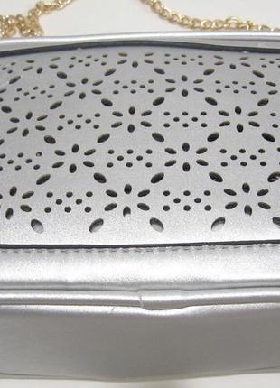 Женский клатч с перфорацией (серебряный) 19-06-0244 фото