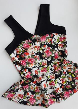 Майка блуза в цветочной принт