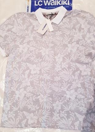 Мужское поло серое lc waikiki / лс вайкики с белым воротником и белой резинкой на манжете2 фото