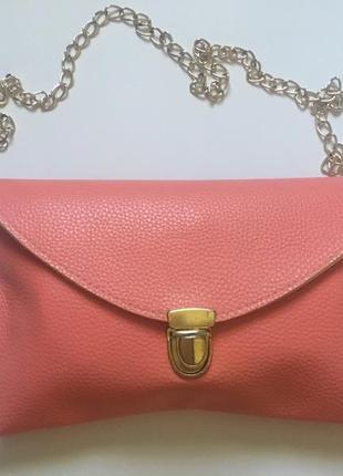Клатч-конверт на цепочке сумочка розовая