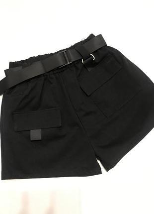 ❗️распродажа❗️чёрные шорты карго женские на высокой посадке
