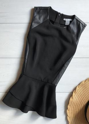 Оригинальная блузка/блуза с баской и кожаными вставками h&m