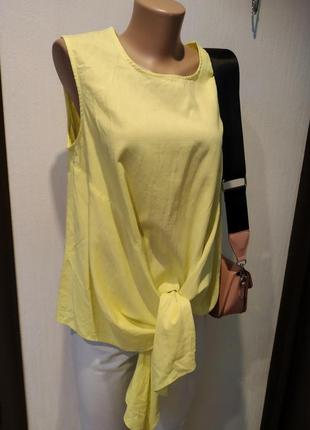 Шикарная льняная блузка оверсайз жёлтого цвета на завязках