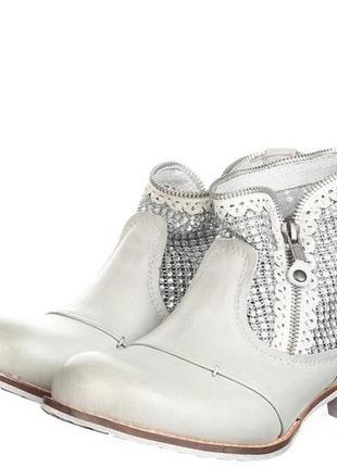 Стильные осенние ботинки серые кожа италия  bunker sara