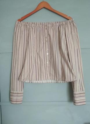 Актуальная блуза в полоску. открытые плечи. кроп топ. полоска. кофточка. рубашка