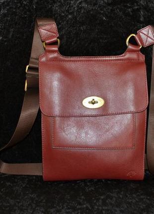 Бордовая кожаная сумочка mulberry, оригинал с номером