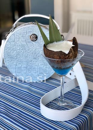Круглая сумка белый с голубым рептилия круглый клатч1 фото