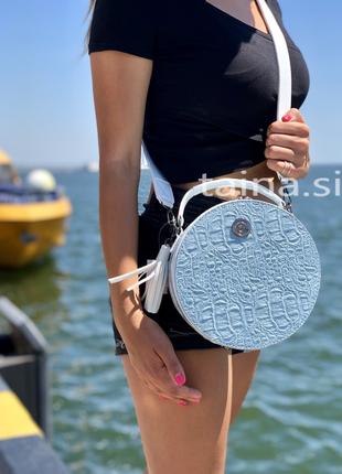 Круглая сумка белый с голубым рептилия круглый клатч2 фото