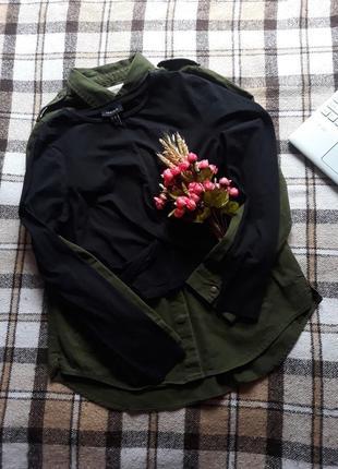 Чёрный кроп-топ с длинными рукавами топ свитшот.1 фото