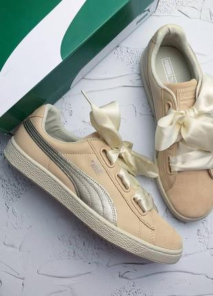 Puma оригинал бежевые замшевые кроссовки на лентах