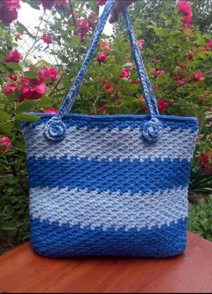 Вязаная сумка, шоппер, пляжная