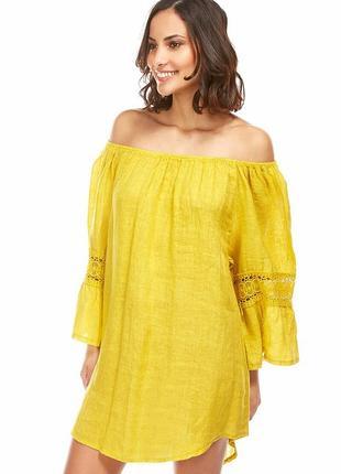Италия лён льняной комплект(шорты+туника) l наш 46р. puro lino лимонка цвет