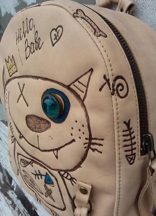 Натуральная кожа. рюкзак в стиле стимпанк, кожаный рюкзак с котом