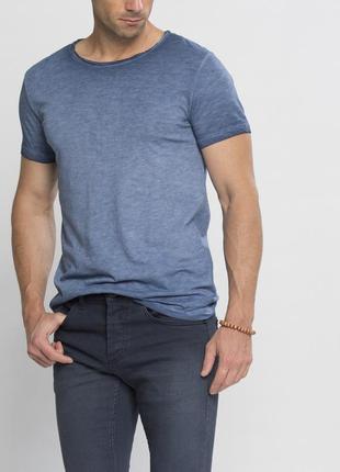 Мужская футболка синяя lc waikiki / лс вайкики со стилизованными потертостями