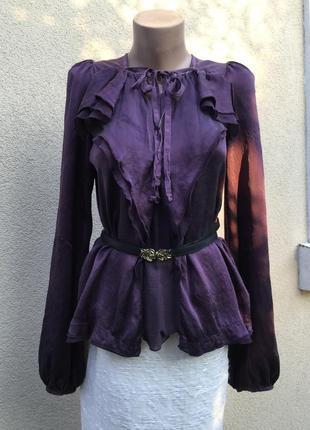 Красивая,100%шелк блуза,рубашка,воланы,рюши,италия