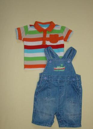 Комплект малышу ромпер комбинезон шорты c&a+ футболка поло matalan 3-6 / 6-9 мес