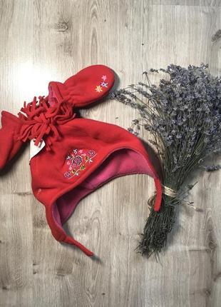Шапка детская зимняя на флисе с рукавицами