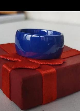 Кольцо керамическое синее керамика широкое колечко