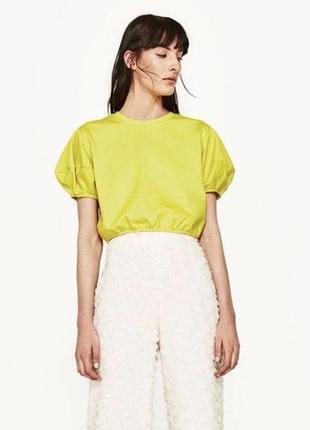 Стильный лимонный топ zara футболка zara