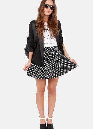 Шифоновая юбка в горох и крупную плиссировку new look