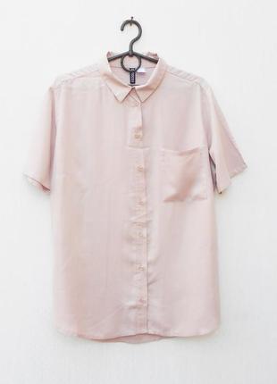 Пудровая летняя легкая рубашка оверсайз из вискозы с коротким рукавом
