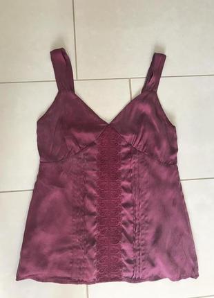 Топ майка блуза шелковая стильная модная дорогой бренд edith and ella размер s