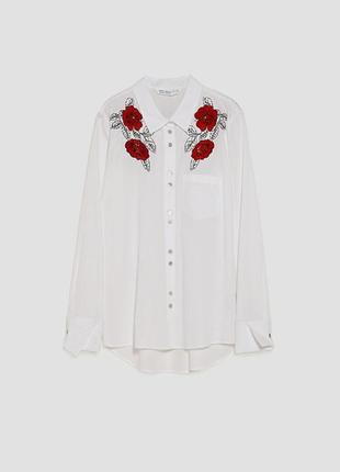 Трендовая вышитая рубашка zara большой размер