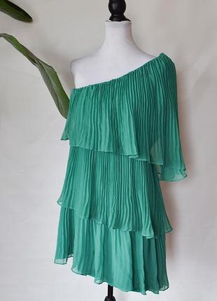 Zara шикарное платье изумрудного цвета