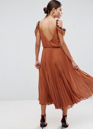 Asos новое плисированное платье сарафан миди длинный повседневное нарядное с кружевом