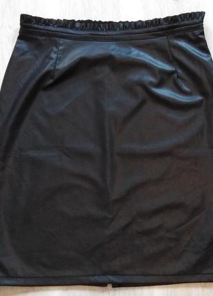 Юбка под кожу чёрная р. 40 42 евро м германия esmara4 фото