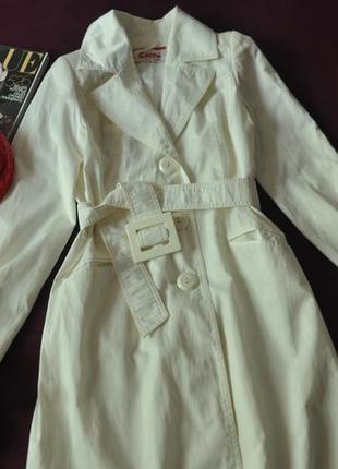 4-002 стильный тренч молочного цвета -изюминка гардероба