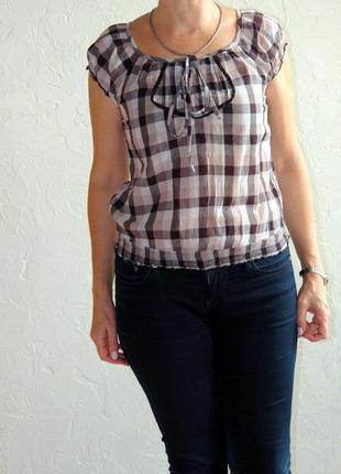 Блузка летняя в клетку фирма orsay бежевая синяя коричневая