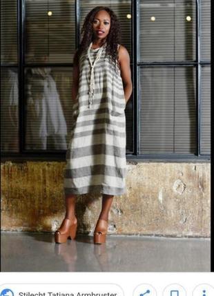Льняное дизайнерское платье с карманами италия