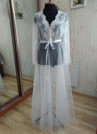 Шикарный фатиновый пеньюар на утро невесты