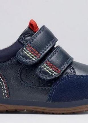 3ef1397613e382 Кожаные закрытые туфли кроссовки ботинки next navy first walker trainers р.  4,5