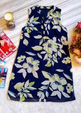 Красивое летнее платье свободного кроя  в цветы размер 10-12 (42-44)