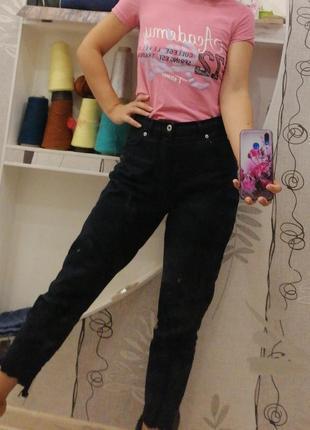 Мом джинсы черные