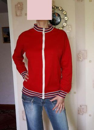 Яркий бомбер, легкая курточка-ветровка, трикотажная кофточка, на молнии, удобная