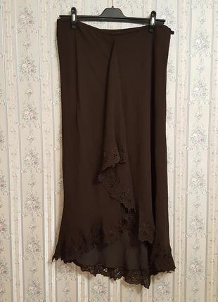 Шелковая длинная юбка в пол, шелк,  от monsoon, разм.50