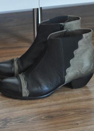 Кожаные ботильоны челси ботинки vabeene / шкіряні черевики челсі
