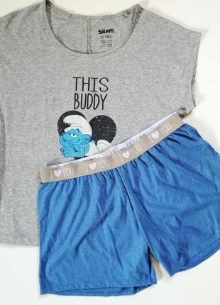Lidl пижама, домашний костюм м 40-42 smurf, германия, голубой