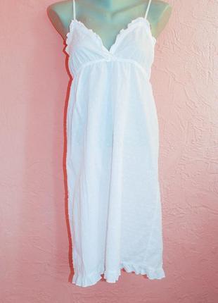 Белый летний коттоновый льняной сарафан бохо светлый хлопок 12 38