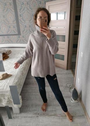 Красивый теплый свитер оверсайз с воротником