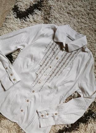 Блузка хлопчатая рубашка полосатая в мелкую бежевую полоску