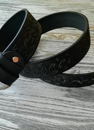 Кожаный ремень черный кельтский узел 3,8 см