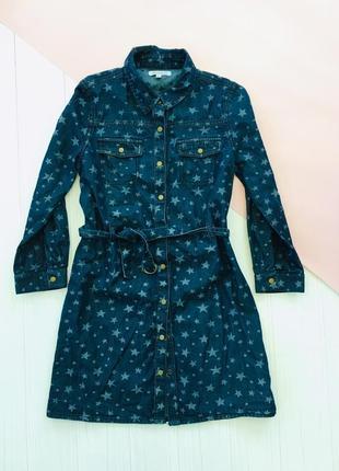 Джинсовое платье рубашка под пояс