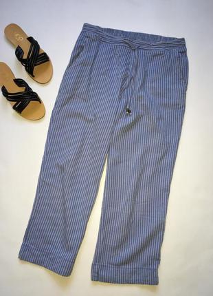 Трендовые летние штаны кюлоты в полоску, укорочённый фасон