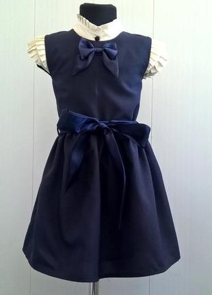 Тёмно-синий школьный сарафан с бантиком и поясом. школьная форма 122-1402 фото